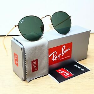 RAY-BAN RB3447 001 Sunglasses ROUND METAL 50-21 Classic Green Lens G-15