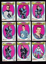 1971 Topps Team SET Lot of 9 Toronto MAPLE LEAFS EX/MT PLANTE KEON ULLMAN