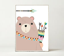 BEAR & ARRROW / Kunstdruck / Poster Bild Bär Tier Kinderzimmer Muster Indianer