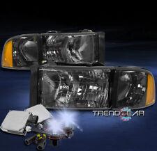1999-2001 DODGE RAM 1500 SPORT PICKUP SMOKE HEADLIGHTS W/CORNER LAMP+8000K HID