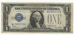 1928 A ONE DOLLAR $1 SILVER CERTIFICATE FUNNY BACK BLUE SEAL