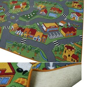 kleiner Spielteppich LITTLE VILLAGE Kinderteppich Spielstraße Dorf Kleinstadt