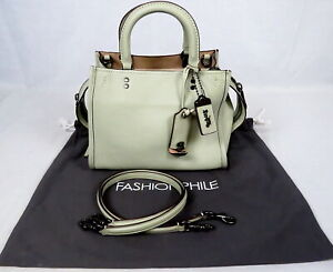 COACH 1941 Pebbled Leather Rogue 25 #54536 Pale Green Shoulder Bag Purse Satchel