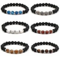 Charm Colorful Natural Lava Stone Gemstone Energy Reiki Healing Mens Bracelets