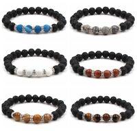 Charm Colorful Natural Lava Stone Gemstone Energy Reiki Healing Mens Bracelets