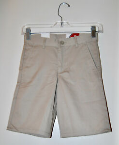 NWT IZOD Boy's Khaki Tan Beige Flat Front School Uniform Shorts sz 8