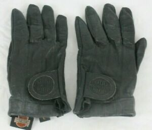 Vintage Harley Davidson Women's Motorcycle Black Leather Riding Gloves Size L