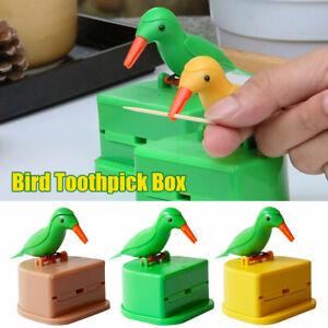 Automatic Toothpick Box Cartoon Bird Push Type Toothpick Holder Dispenser Hot UK