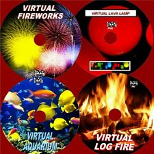 VIRTUAL LOG FIRE TROPICAL FISH LAVA LAMP & FIREWORKS 4 RELAXING VIDEO DVDS NEW