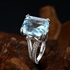 18ct White Gold Stunning Natural Brazilian Aquamarine & Diamond Cocktail Ring VS