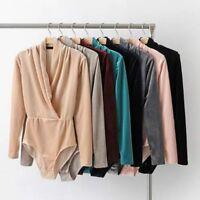 Women Velvet Bodysuit Top Long Sleeve V Neck Stretch Bodycon Jumpsuit Blouse New