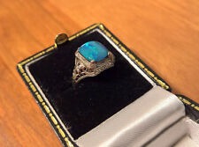 Antique EDWARDIAN Ring 14K white gold Filigree w/ Black Opal Doublet SIZE 4.25