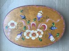 "Antique Vintage Shaker Covered Oval Pantry Painted Wood Spice Box 10.5"" Length"