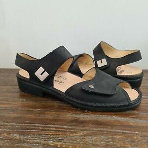 FINN COMFORT womens size 9.5 (UK 7) EU 40 comfort sandals black leather nubuck
