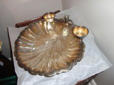 VINTAGE SILVER PLATED SHELL SHAPE LARGE FOOTED BOWL DISH WITH 3 CANDLE HOLDER