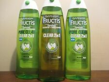 Lot of 3 Garnier Fructis Shampoo & Conditioner Pure Clean 2in1 Normal Hair 13 oz