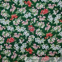BonEful FABRIC FQ Cotton Quilt VTG Green White Red Pink Flower Small Xmas Garden