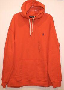 Polo Ralph Lauren Big & Tall Mens Orange Hoodie Sweat Jacket NWT $125 Size XLT