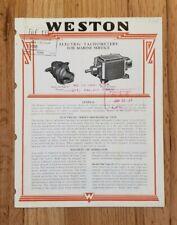 1930 Weston Electric Tachometers Sales Folder
