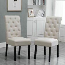 2Pcs Dining Chairs High Back Fabric Upholstered Button Tufted Dining Room Beige