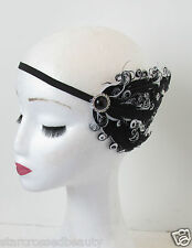 Flapper 1920s Black Silver White Feather Headpiece Vtg Headband Fascinator N60