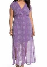 Lane Bryant purple print bohemiam inspired tie back sexy  maxi dress size 14/16