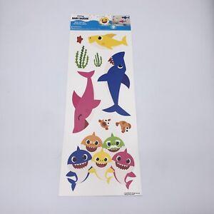 Baby Shark Peel & Stick Wall Decals Kids Bathroom/Nursery Decor 9 Shark Stickers