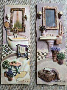 Set of 2  C. Winterle Olson  Vintage Bathroom Wall Art  3D Handpainted Art