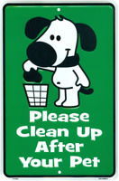 Cute No Dogs Pooping Sign, Please Clean Up After Your Pet, No Dog Poop Metal 8 x