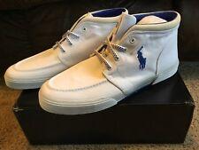 NIOB  Men's Sz 13D Ralph Lauren Polo Federico White Rip Stop Canvas Sneakers