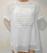 White lace Poly Cotton Tunic Top Party Office Blouse with Cami (NEW) size 10