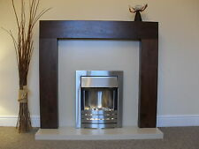 """ELECTRIC WALNUT BROWN CREAM MARBLE SURROUND FIREPLACE SUITE LIGHTS LARGE 54"""""""