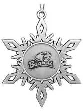 Oregon State University Beavers ENGRAVED PEWTER SNOWFLAKE CHRISTMAS ORNAMENT OSU