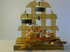Tea light lattice Candle Holder -Wooden Base Gift Xmas Christmas Birthday