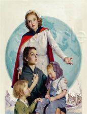 VINTAGE WWII RED CROSS NURSE MOTHER CHILDREN WORLD GLOBE CANVAS ART PRINT BIG