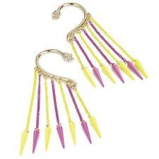 Pair Ear Hook Gold Metal Earrings Dangle Neon Pink Yellow Spikes Skull End