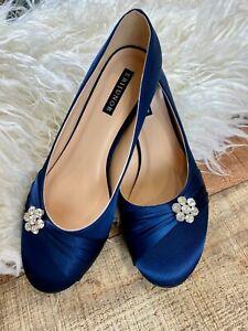 New ERIJUNOR Comfort Kitten Heels Rhinestones Satin Wedding Shoes Navy Blue