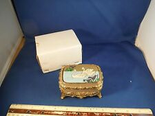 "New Enameled Swans Swimming ""Amazing Grace"" Metal Trinket Music Box NIB"