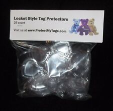 25 TY Beanie Baby Babies Locket Style Heart Shaped Hang Tag Protectors Boos NEW