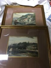 Vintage Lithographs (2) Art Print Water Sail Boats ,Houses ,Italy ?
