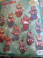 Christmas Bucilla Felt Applique Ornament Kit,STOCKINGS,MITTENS,SLIPPERS,84074