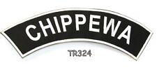 CHIPPEWA Blanco sobre negro con borde termoadhesivo Top eje de Balancín PARCHE