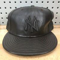 New York Yankees MLB Baseball New Era 59FIFTY Dark Brown Leather Hat EUC RARE