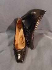 Women's Sofft Faux Croc Black Leather Sandy Heels Size 7 1/2 M