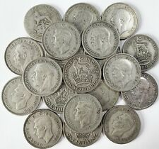 More details for 20 pre 1947 british silver shilling coins (all different) - 110g, 3.8oz .500 ag