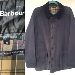 Barbour Jacket Mens Classic Bedale Navy Waterproof & Breathable Size Medium