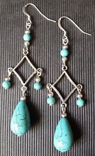 Turquoise chandelier drop Earrings ~ 925 Sterling Silver Ear Hooks ~ Long dangle