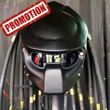 Matt Black Predator Motorcycle Helmet Custom Open Face Casco Casque Douane #01
