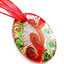 Silver Red Oval Handmade Lampwork Glass Murano Bead Pendant Ribbon Cord Necklace