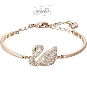 Made W/ Swarovski Crystal Swan Bangle Bracelet Rose Gold - Adjustable wMini swan
